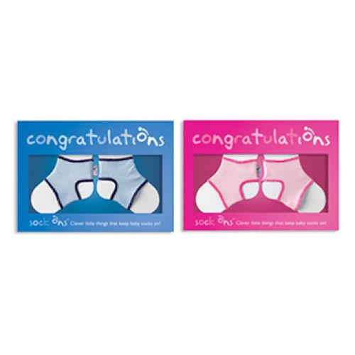 Sock Ons - Congratulation Card - Pink Or Blue