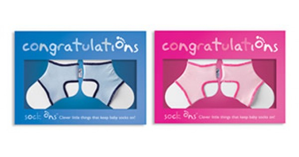 Sock Ons Congratulation Card Pink Or Blue