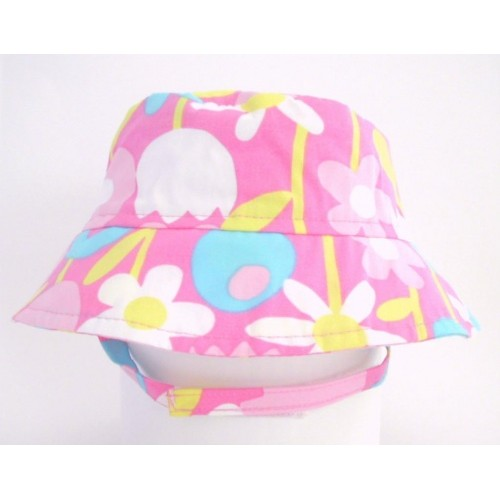Hat - Flap Happy -Sunhat UPF50 -  Crusher Petal Pops UPF50+ (medium 6-12m)