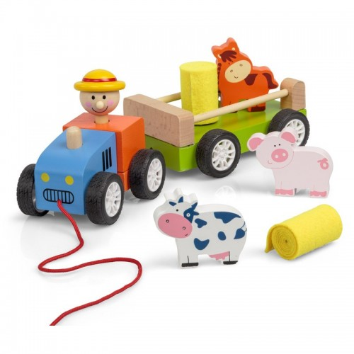 TOY - Wooden Pull along tractor