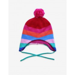 Hat - Toby Tiger - Knitted Hat - Multistripe -  Girly - Pink Bobble