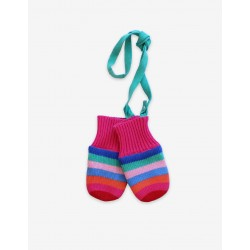 Mittens and Gloves - Toby Tiger - Knitted - Pink Multi stripe