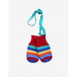 Mittens and Gloves - Toby Tiger - Knitted - Red Multi stripe
