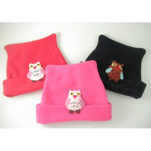 Hat - Fleece hat Owl - Red - 9-12, 18-24, 3-4y