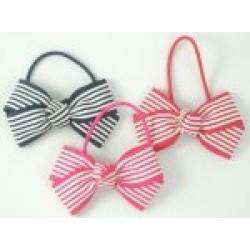 Hair - Hair Bobble Stripey Bows - Fuchsia, navy, red