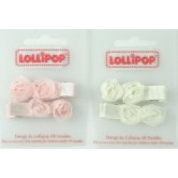 Gift - Hair Clip Chiffon Rosettes - Choice Ivory or Pink