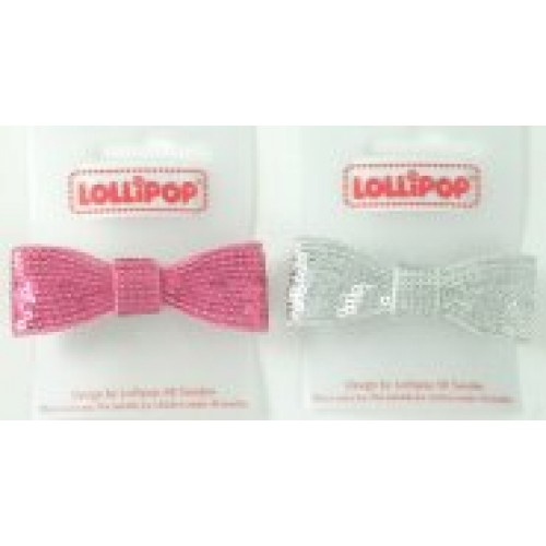 Gift - Hair Clip Sequin Bow - Silver or Pink