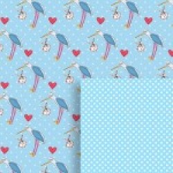 Gift - Wrapping Paper - Reversible - Baby Boy Stork