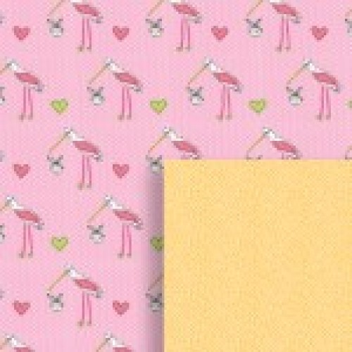 Gift - Wrapping Paper - Reversible - Baby Girl Stork
