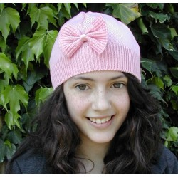 Hat -  Girls with bow - Cream, dusky or pink -