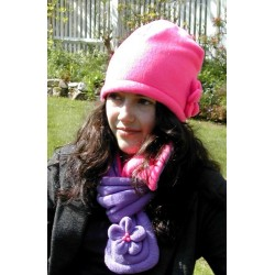 Hat - Fleece with flower - PINK (1x) or LILAC(2x) left in the SALE