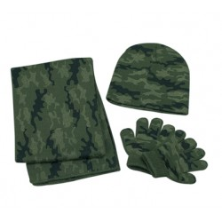 Set - Boys Camouflage Knitted Hat Scarf & Gloves   - 1 x left
