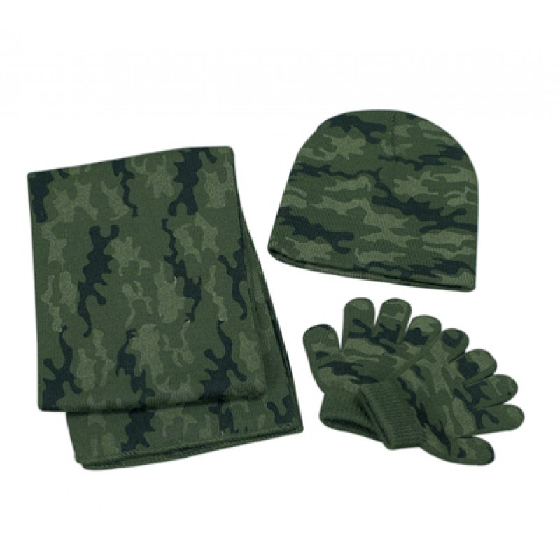21ec12d207a38 Set - Boys Camouflage Knitted Hat Scarf   Gloves