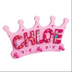 PLAQUE - Fair Trade  - Silver Crown  Name Plaque with 3 Hooks (as per photo but silver ) - sale