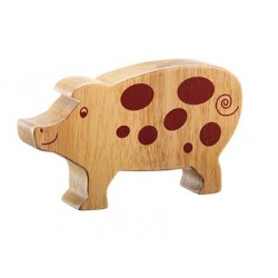 Toy - Natural wood spotted pig