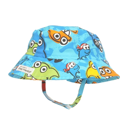 Hat - Flappy Happy - Sunhat UPF 50+ Crusher Hat Pirate Sharks -medium 6-12,  xl 2-4y