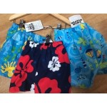 Swim Nappy Shorts - , 0-6m (dark navy with red and white flowers) and  2y (light aqua with palm trees)